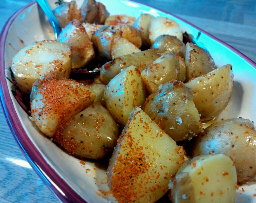 Die Kartoffelspalten mit Magic Dust sind vorbereitet.