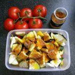 Das Gemüse für die Hähnchenspieße steht bereit